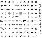 set of geometric retro memphis... | Shutterstock .eps vector #754762864