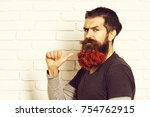 handsome bearded man with... | Shutterstock . vector #754762915