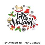 merry christmas 2018 vector... | Shutterstock .eps vector #754765501