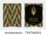 art deco vintage invitation... | Shutterstock .eps vector #754766041