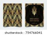 art deco vintage invitation... | Shutterstock .eps vector #754766041