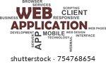 a word cloud of web application ...   Shutterstock .eps vector #754768654