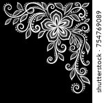 beautiful monochrome black and... | Shutterstock . vector #754769089