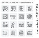 vector icon of air conditioner... | Shutterstock .eps vector #754771159