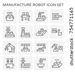 manufacture robot and... | Shutterstock .eps vector #754771165