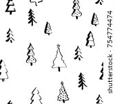 scandinavian pattern with fir... | Shutterstock .eps vector #754774474