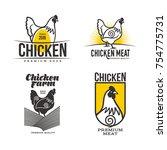 set of logos with chicken ... | Shutterstock .eps vector #754775731