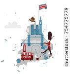 vector flat england map with...   Shutterstock .eps vector #754775779