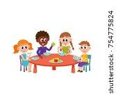 vector cartoon caucasian and... | Shutterstock .eps vector #754775824