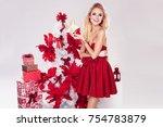 beautiful young blonde woman in ... | Shutterstock . vector #754783879