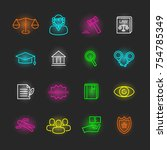 law neon icon set  vector... | Shutterstock .eps vector #754785349