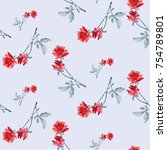 watercolor seamless pattern... | Shutterstock . vector #754789801