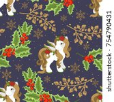 holiday seamless pattern with... | Shutterstock .eps vector #754790431