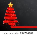 christmas tree made of red... | Shutterstock .eps vector #754794109