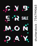 cyber monday sale abstract card ... | Shutterstock . vector #754799065