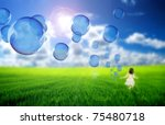 Soap Bubbles Flying