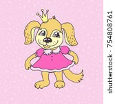 cute cartoon puppy girl in pink ... | Shutterstock . vector #754808761