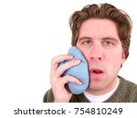 man with a toothache   Shutterstock . vector #754810249
