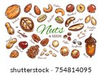 nuts and seeds colorful... | Shutterstock .eps vector #754814095