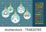 christmas greeting vector... | Shutterstock .eps vector #754820785