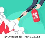 extinguish fire. fireman hold... | Shutterstock .eps vector #754822165