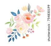 watercolor flower bouquet pink... | Shutterstock . vector #754830199