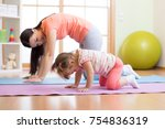 mother and child daughter... | Shutterstock . vector #754836319