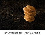 oatmeal cookies with crumbs ...   Shutterstock . vector #754837555