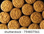 pattern of oatmeal cookies...   Shutterstock . vector #754837561