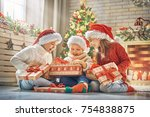 merry christmas and happy... | Shutterstock . vector #754838875
