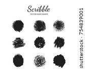 scribble smears set. vector... | Shutterstock .eps vector #754839001