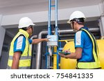 engineers training in the... | Shutterstock . vector #754841335