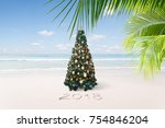 view of nice christmas and  new ... | Shutterstock . vector #754846204