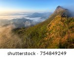 mountain view with morning fog... | Shutterstock . vector #754849249