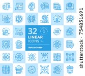 linear icon set of data science ... | Shutterstock .eps vector #754851691