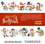 vector merry christmas and... | Shutterstock .eps vector #754852924