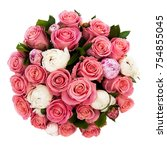 a bouquet of many two color...   Shutterstock . vector #754855045