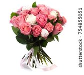 Stock photo a bouquet of many two color fresh roses isolated on white background 754855051