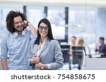 business people using tablet ... | Shutterstock . vector #754858675