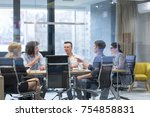 group of a young business... | Shutterstock . vector #754858831