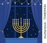 hanukkah menorah and room ... | Shutterstock .eps vector #754859434