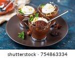 homemade dark chocolate mousse... | Shutterstock . vector #754863334