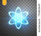 shining atom scheme. isolated... | Shutterstock .eps vector #754863649
