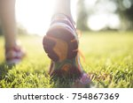 runner training woman and... | Shutterstock . vector #754867369