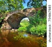 small medieval bridge across... | Shutterstock . vector #754867885