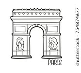 arch of triumph paris france... | Shutterstock .eps vector #754874677