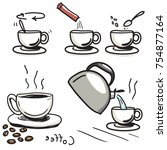 how to make instant coffee | Shutterstock .eps vector #754877164