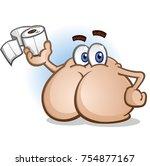 butt cartoon character holding... | Shutterstock .eps vector #754877167