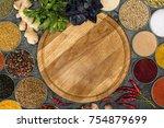 top view of empty wooden board... | Shutterstock . vector #754879699