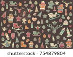 vector pattern of elements for... | Shutterstock .eps vector #754879804